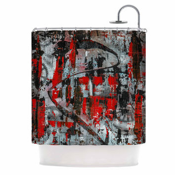 "Bruce Stanfield ""Zinger In Red"" Black Abstract Shower Curtain"