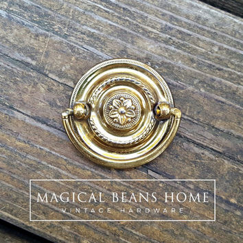 Gold Hepplewhite Pull Polished Brass Round Hepplewhite Dresser Pulls Gold Drawer Pulls Vintage Brass Drawer Pulls Drop Bail Pull Handles