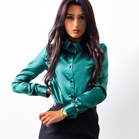 2017 Women Elegant Satin Office Work style blouse Shirt Turn-down Collar Long Sleeve Autumn Formal Office Blouse Blusas