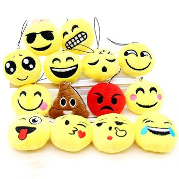 Cute Face Cotton Keychain Emoji Smiley Stool Amusing Key Chain lovely Pendant Soft symbol for Women cartoon mood Accessory