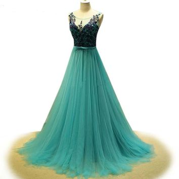 Emerald green evening dresses see through cap sleeve applique Tulle   women formal dresses
