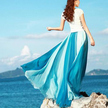 2017 Summer Beach Bohemia Long Chiffon Skirt Flared Hem Plus Size Chiffon Maxi Skirt with Elastic Waist Floor Length Silk Skirts