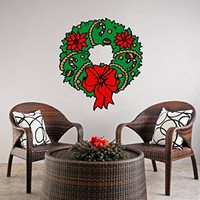 "Wall Decals Christmas Wreaths Full Color Murals Colorful Vinyl Decal Holiday Stickers Christmas Decoration Home Decor Art EN39 (18"" Wide x 22"" Tall)"