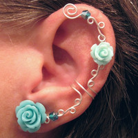 "Non Pierced Ear Cuff  ""Roses are Aqua"" Cartilage Conch Cuff Silver tone Prom WHITE Roses are on Back Order"