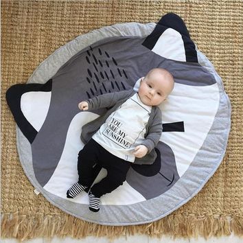 Smail cute animal cotton crawling mat Fox game pad round carpet Lovely rabbit Soft Baby Crawling Mat Rug, Cute Swan Crawling Mat