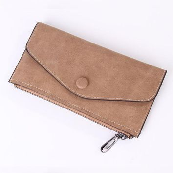Women Long Wallet Zipper PU Leather Frosted Ultra-thin Casual Cell Phone Pocket Coin Bag