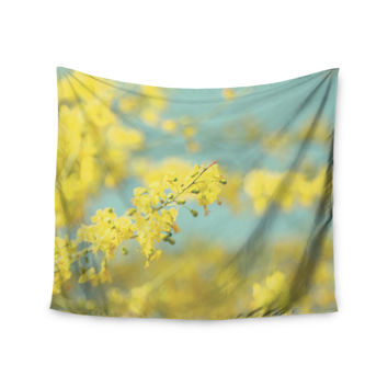 "Sylvia Coomes ""Yellow Blooms 2"" Blue Yellow Wall Tapestry"