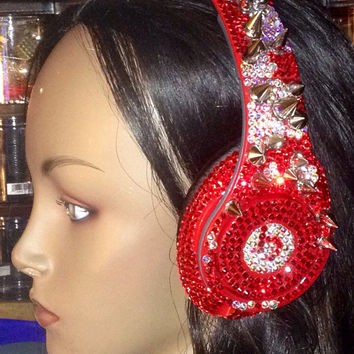 Studio Beats by Dre Custom Headphones Dinosaur Print Swarovski Crystals and Spikes