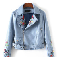 PU Biker Zip Up Jacket with Floral Embroidery