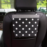 Car Headrest Caddy ~ Black Polka Dots ~ Black Striped Band
