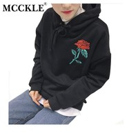 MCCKLE Harajuku Hoodies For Women 2017 Autumn Winter Fashion Rose Printed Hooded Hoody Fleeced Warm Black Hoodie Women Tops