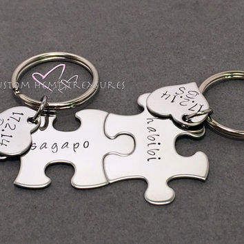 Name Puzzle Keychains with Heart Charm, Personalized couples Gift, Stamped Keychains for Couples or Best Friends