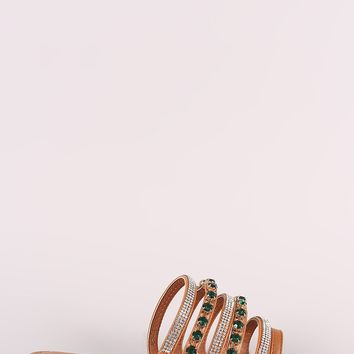 Bamboo Strappy Rhinestone And Jewel Slip-On Flat Sandal