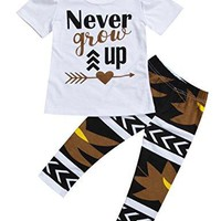 "Little Girls ""Never Grow Up"" T-shirt and Maple Leaves Pants Outfit (120(4-5Y))"