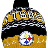 Pittsburgh Steelers NFL Knitted Cap Winter Beanie with Pom - Multicolour (Size: One Size)