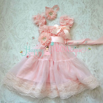 Girl Pink Babydoll dress/ Baby Pink Chiffon Lace Dress set