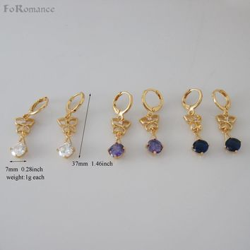"MIN ORDER 10$/Can Mix Design/ NEW DANGLE 1.5"" - YELLOW GOLD GP COLOR THREE COLORS STONE DIAMETER 7MM BUTTERFLY DANGLER EARRING"