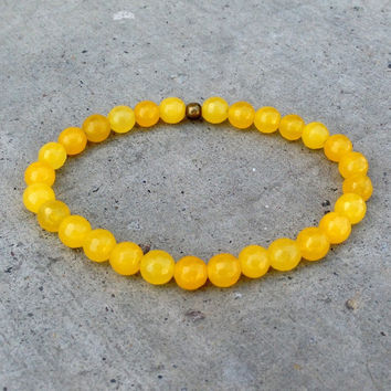 Confidence, Third Chakra, Genuine Yellow Jade Mala Bracelet