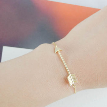 arrow bracelet in gold by LemonTreeLand on Etsy