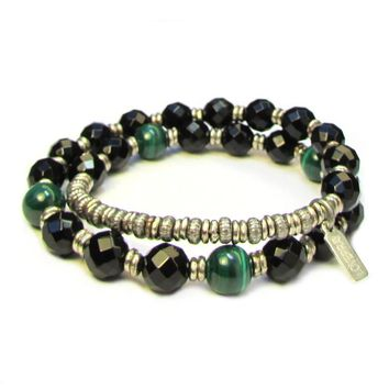 Soothing and Intuition, Genuine Onyx Gemstone and Malachite 27 Bead Wrap Mala Bracelet