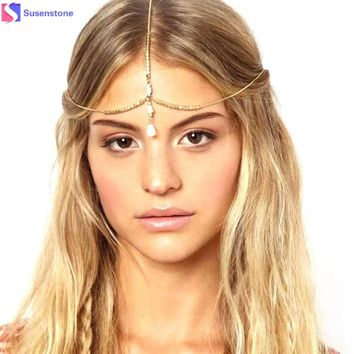 Multilayer Chain Jewelry Headband Head Shell Hair Band Headpiece Gold
