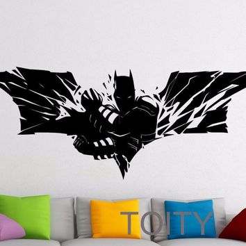 Batman Dark Knight gift Christmas SUPERHERO Wall Sticker Batman Movie Poster Dark Knight VINYL DECAL HOME NURSERY CHILDREN KID ROOM STENCIL MURAL DECOR AT_71_6