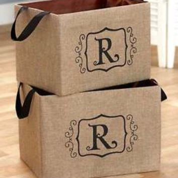 "Set of 2 Burlap Monogram Letter ""R"" Storage Oraganizer Bins Kid's Toys Books"