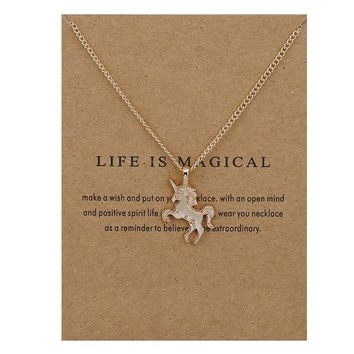 Gold and silver -color Life Is Magical Unicorn Horse Alloy Clavicle Chain Necklace