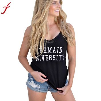 Womens T-Shirt 2017 Summer MERMAID UNIVERSITY Letters Printing Sexy V-Neck Vest Top Casual Black Tops Sleeveless Shirt