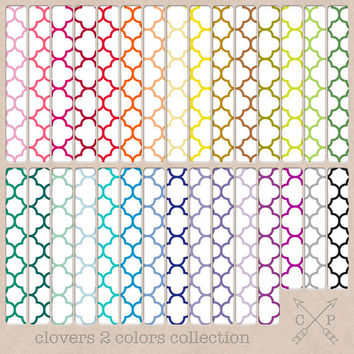 30 Clover Quatrefoil digital paper pack. Moroccan digital patterns great for blog backgrounds, printing scrapbook paper, or web design etc.