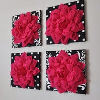 "Wall Decor -SET OF FOUR Hot Pink Dahlias on Black and White Prints 12 x12"" Canvases Wall Art-"