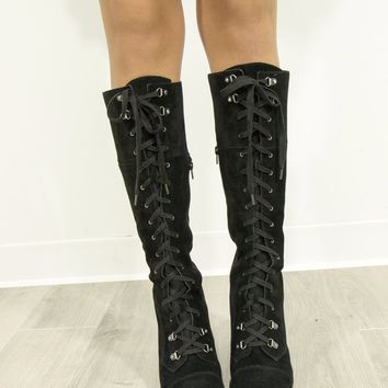 CHINESE LAUNDRY Keepsake Black Split Suede Lace Up Boots