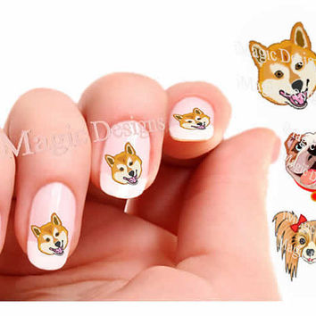 Nail Decals, Water Slide Nail Transfers, Dog Nail Stickers, Shiba Inu, Bulldog or Papillon