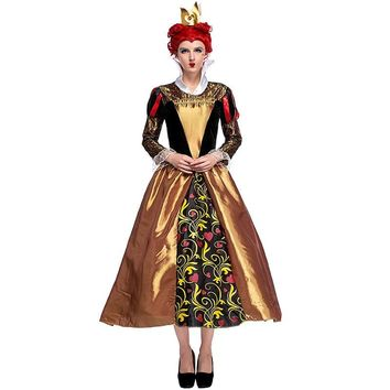 Adult Woman Red Queen Alice In Wonderland Themed Halloween Cosplay Party Fancy-Dress Costume