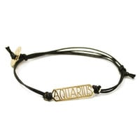 Zodiac Bar Cotton Cord Bracelets (Aquarius-Cancer)
