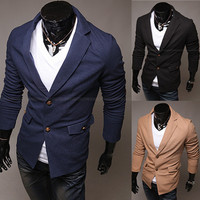 Fashion Men Slim Fit Two Button Blazer with Pockets