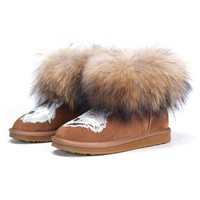 ZLYC Fox Headshot Genuine Leather Winter Boots with Long Fur