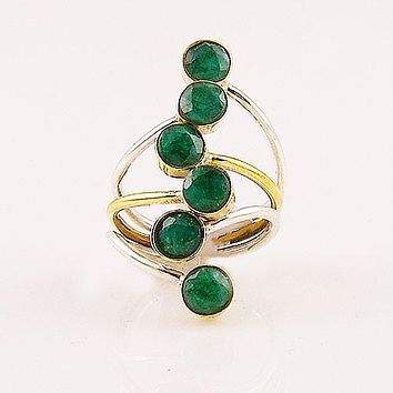 Emerald - Multi Stone - Two Tone Sterling Silver Ring