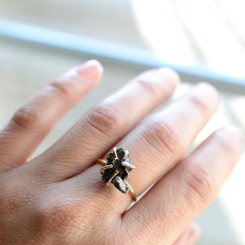 Meteorite Ring. 14k Gold Fill Prong Ring. Outer Space Shooting Star. Boho Stacking Meteorite Gold Fill Jewelry. Falling Star Stone Ring