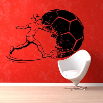 Soccer Wall Decals Girl Football Player Sport Gym Wall Decor Decal Vinyl Sticker Home Decor Vinyl Art Wall Decor Nursery Room Decor KG78