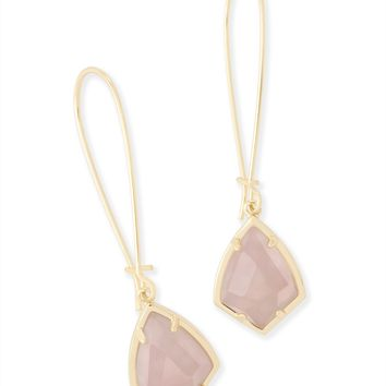 Carinne Gold Drop Earrings in Rose Quartz | Kendra Scott