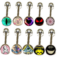 tongue piercing mix 10 logos Heart eyes skull Anchor body jewelry tongue rings nipple jewelry for woman or man