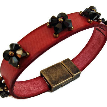 Red leather bracelet with Swarovski elements. Red Beadwork Bead Bracelet.