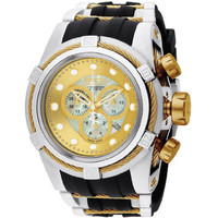 Invicta 0828 Men's Reserve Zeus Bolt Gold Tone Mother of Pearl Dial Rubber Strap Stainless Steel Chronograph Dive Watch