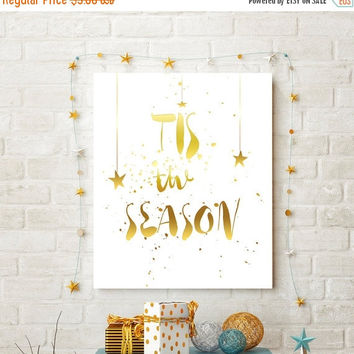 Gold Foil Printable, Christmas Printable, Tis The Season, Christmas Printable Wall Art,Holiday Wall Art, Printable Women Gift, Digital Print