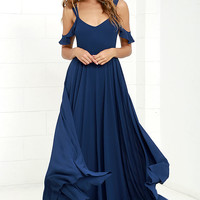 Romantic Fantasy Navy Blue Maxi Dress