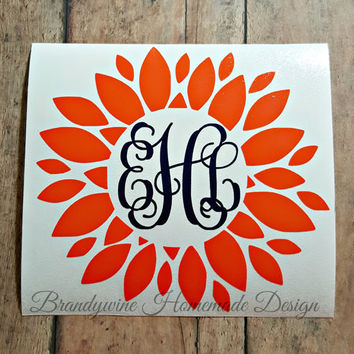 Dahlia Monogram Decal, Sunflower Monogram Decal, Flower Monogram Decal, Flower Car Decal, Yeti Monogram Decal, Tumbler Monogram Decal