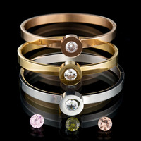 Top Quality 316l Stainless Steel Interchangeable CZ Stone Bangle Bracelet For Women Party Gift