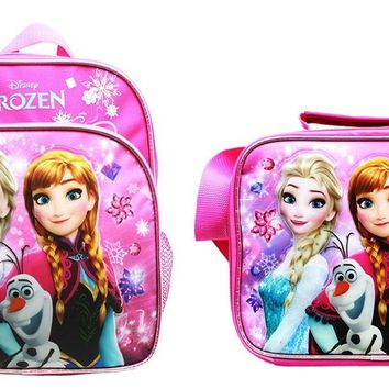"Disney Frozen Girls 10"" Canvas Pink School Backpack Plus Insulated Lunch Bag"