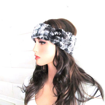 Womens Faux Fur Headband - Soft Luxury Chinchilla Faux Fur Headband - Washable - Easy Care Warm Winter Hairband or Headband